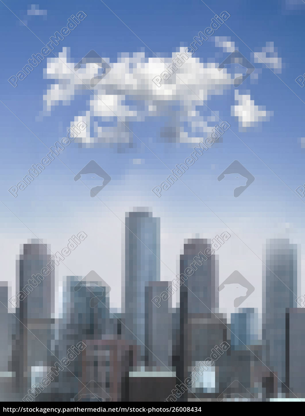 pixellated, cityscape, on, sunny, day - 26008434