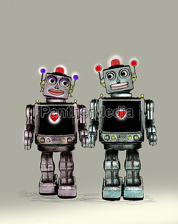 two robots falling in love