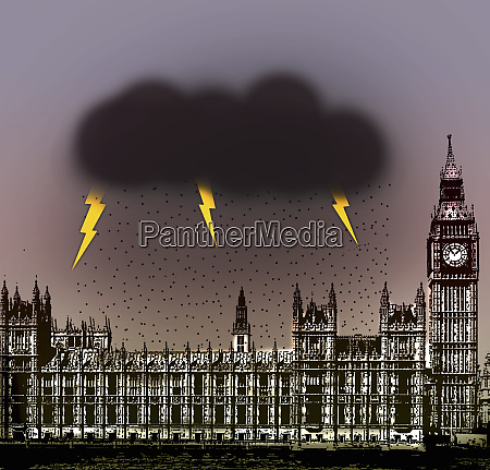 thunderstorm over the houses of parliament