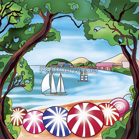vibrant beach umbrellas and sailboats in