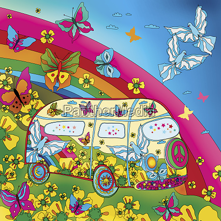 butterflies and rainbow surrounding hippy van