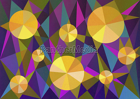abstract pattern of yellow pie charts