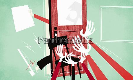 arms pushing door shut on man