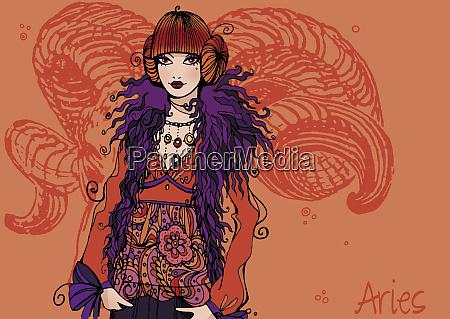 portrait of aries woman zodiac sign