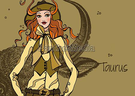 portrait of taurus woman zodiac sign