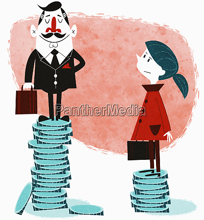 businesswoman on small stack of coins