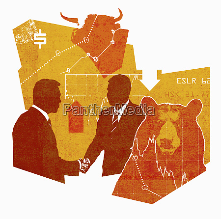 graphs and arrows behind businessmen shaking