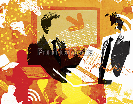 businessmen surrounded by financial figures computer