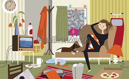lazy woman and dog watching tv