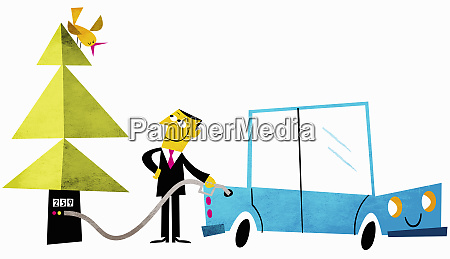 happy businessman filling car with biofuel