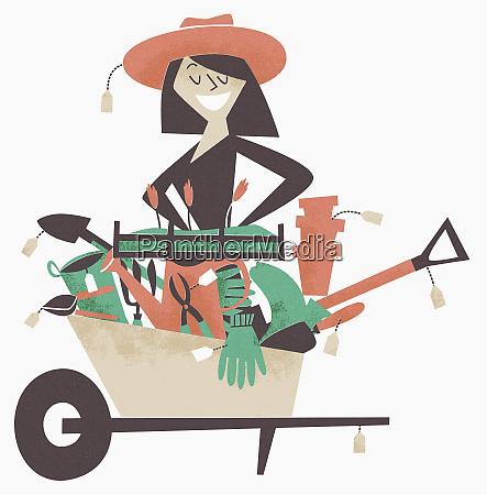 woman shopping for gardening equipment