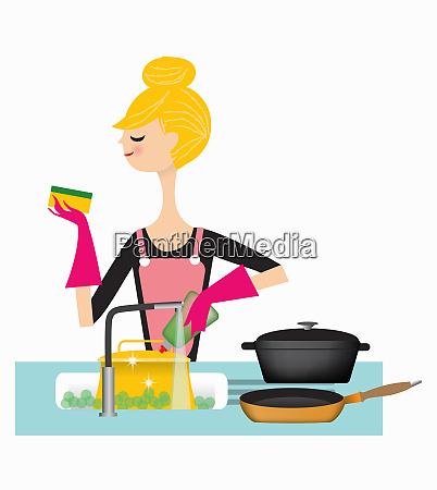 vaschette di lavaggio della donna in