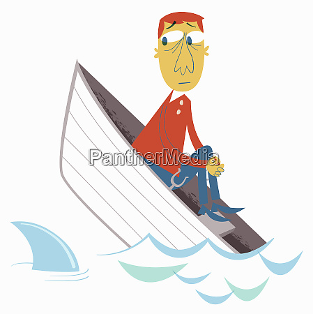 anxious, man, in, sinking, boat, watching - 26009990
