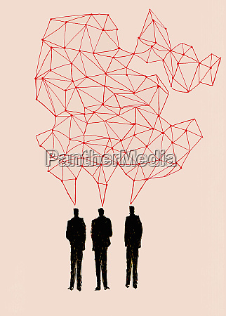 businessmen talking in connected networked speech