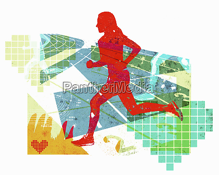 woman running in healthy fitness collage