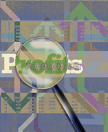 magnifying glass over profits financial figures