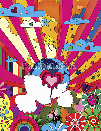 multicolored pattern with globe heart shapes