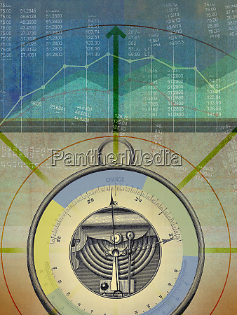 multi layered collage of barometer and