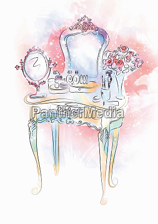 makeup on vanity table with mirror