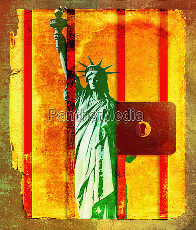 statue of liberty behind prison bars