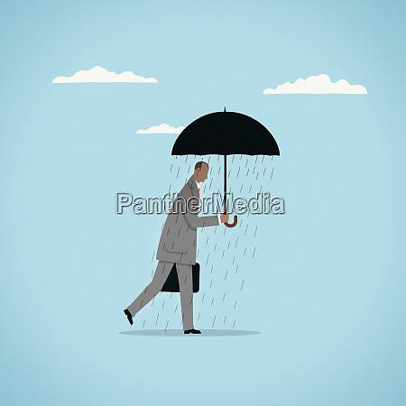 rain falling from under umbrella on