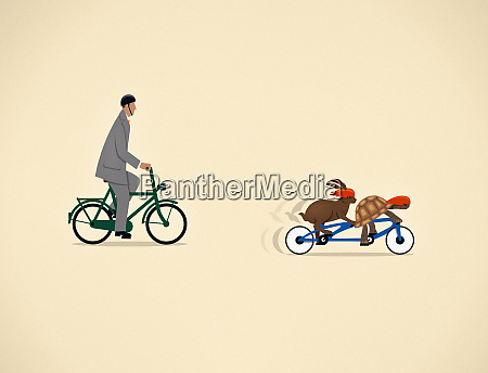 businessman on bicycle behind tortoise and