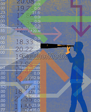 businessman looking through telescope analyzing financial