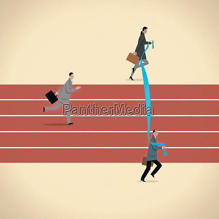 business people moving finishing line for