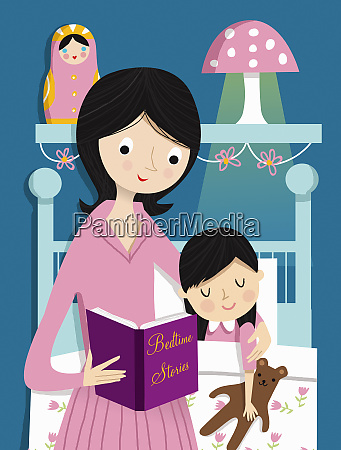 mother reading bedtime story to daughter