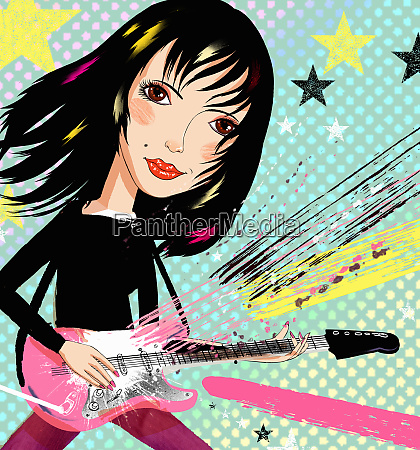 young woman playing electric guitar