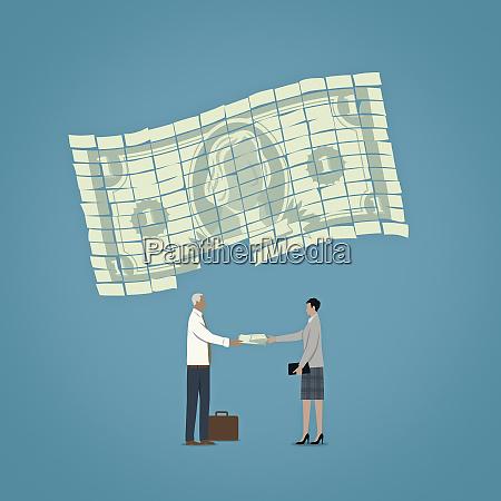 businessman giving businesswoman money from part