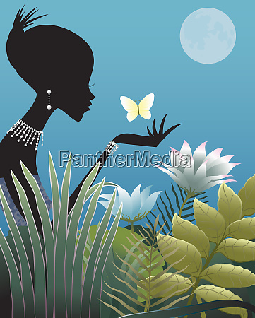 silhouette of woman wearing diamonds holding