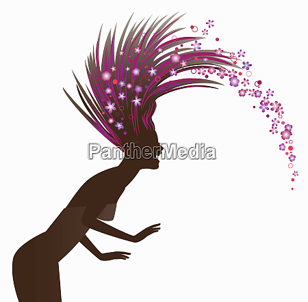 laughing woman tossing hair spraying flowers