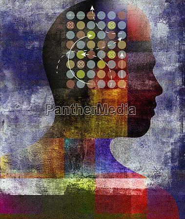 profile of man solving problem inside