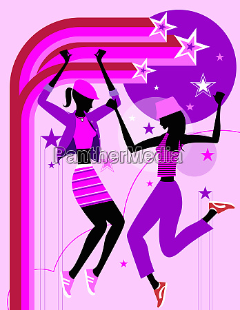 stars surrounding energetic women dancing