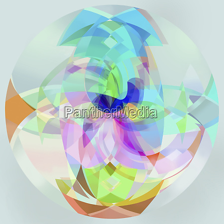 abstract, multicolored, translucent, sphere - 26010454