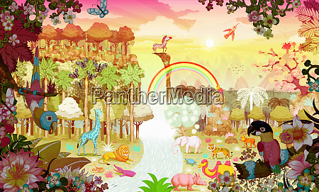 abundant, colorful, tropical, jungle, at, sunrise - 26010656