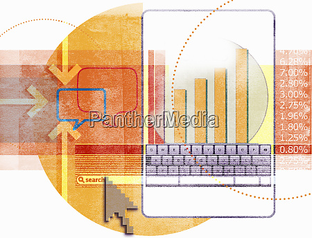 digital tablet and cursor searching and
