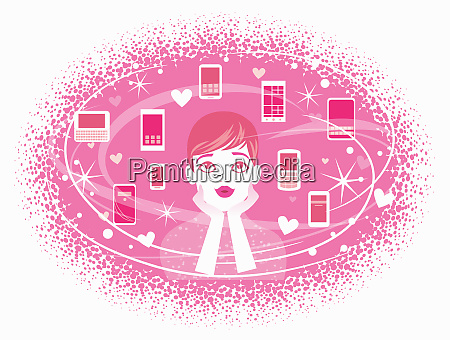 woman dreaming of pink cell phones