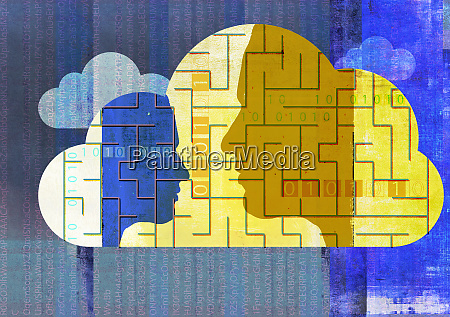 people communicating encrypted data using cloud