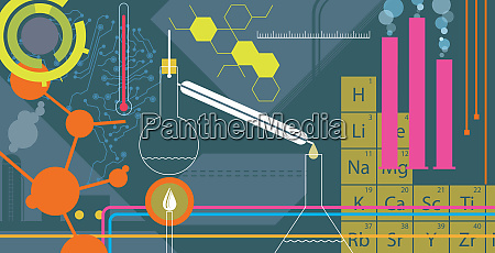 montage of science equipment experiments and
