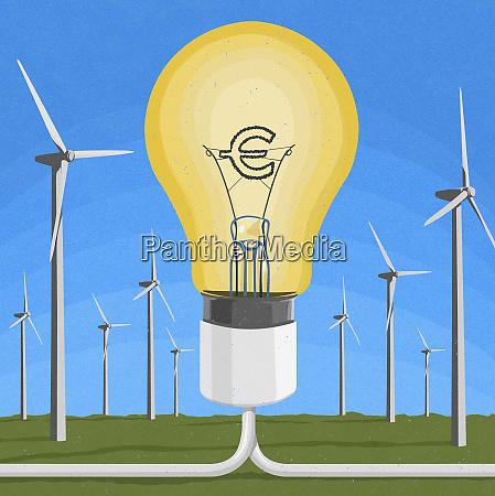 euro sign inside of light bulb