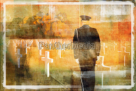 war veteran standing to attention at