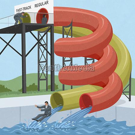 businessmen sliding down water chutes at