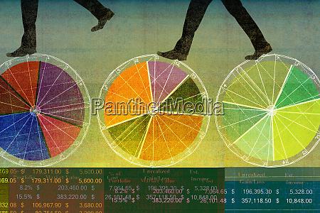 businessmen walking on top of multicolored