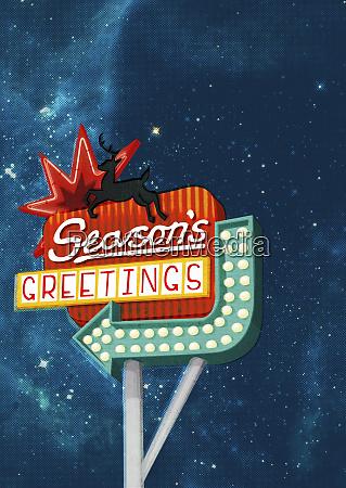 christmas seasons greetings neon sign with