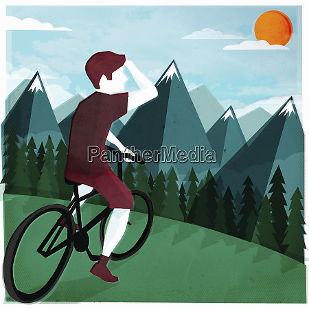 young man on bicycle looking ahead