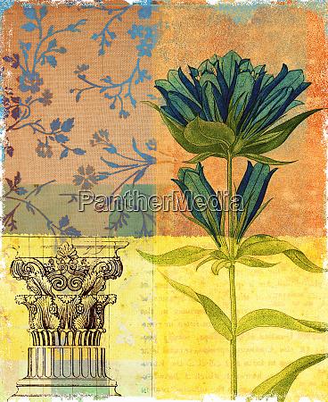 ornate pedestal and flower design