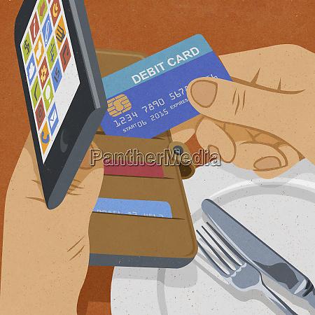 man using smart phone as wallet