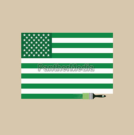 paintbrush painting american flag green